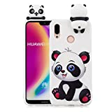 3D Cartoon Animal Case for Huawei P Smart,Yobby Huawei P Smart Cute Kawaii Pattern Case Slim Soft Flexible Rubber Silicone Shockproof Protective Back Cover-White Panda