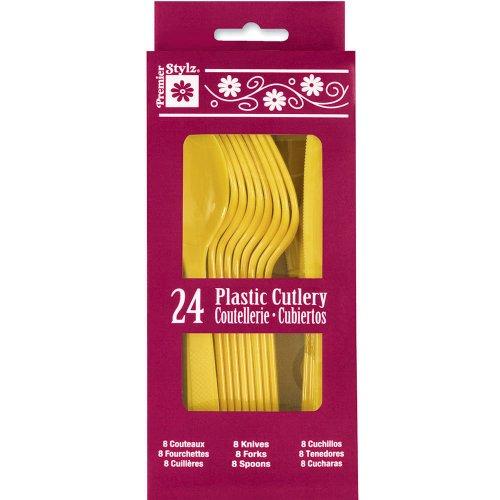 Yellow Plastic Silverware Guests 24pcs