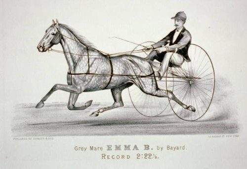 Photo: Grey mare Emma B. by Bayard,Harness Racing,1856-1907,Currier & Ives ()