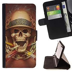Jordan Colourful Shop - death explorer smoking safari skull For Apple Iphone 4 / 4S - < Leather Case Absorci????n cubierta de la caja de alto impacto > -