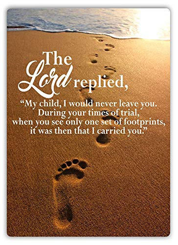 PotteLove Footprints in The Sand Quote Metal Wall Sign Plaque Art Lord Prayer Church God Decor Novelty Art Sign Funny Aluminum Metal Tin Signs