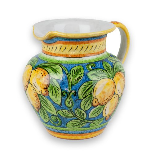 Majolica Pottery - Umbria Hand Painted Ceramic Limone Pitcher from Italy
