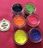 Disco Cake NEON RADIANT (6 colors) 5 GRAMS EACH CONTAINER, for cakes, cupcakes, fondant, decorating, cake pops By Oh! Sweet Art