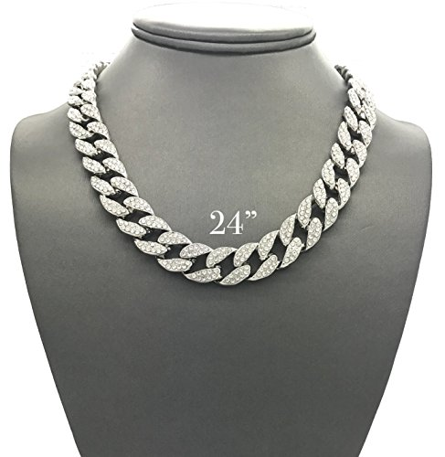 Mens Iced Out Hip Hop Silver tone CZ Miami Cuban Link Chain Choker Necklace ()