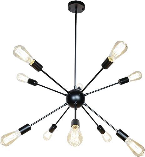 SaiPIS Sputnik Chandelier 10-Lights Black Light Fixture Modern Pendant Lighting Industrial Hanging Ceiling Light