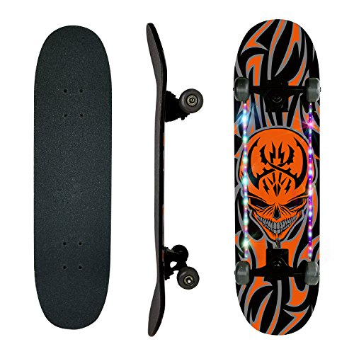 Skateboards, WdtPro 31'' Pro Complete Skateboard, Led Lighting Effect, 7 Layer Canadian Maple Skateboard Deck for Extreme Sports and Outdoors