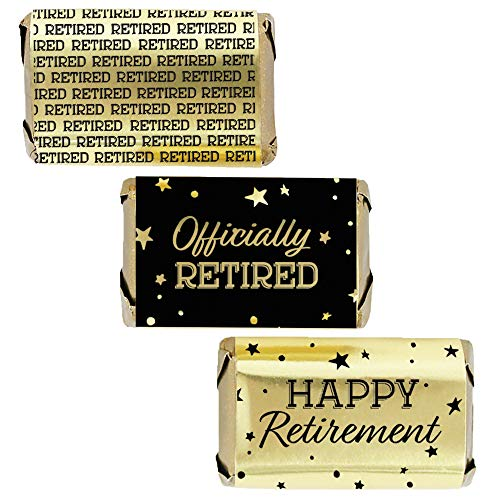 - Black and Gold Retirement Mini Candy Bar Wrappers - Shiny Foil - 45 Stickers