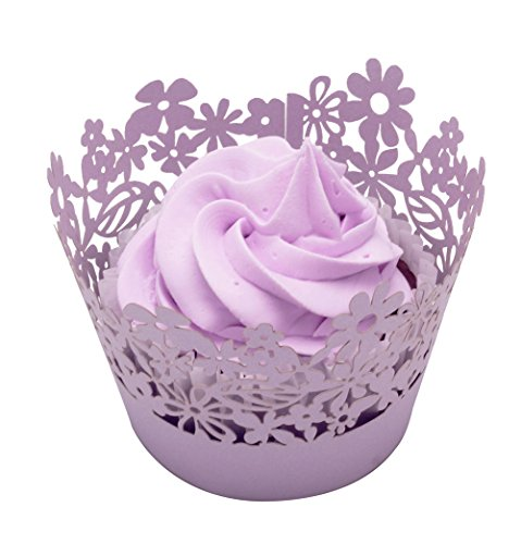 Betop House Flower Leaf 50 Pieces Cupcake Wrappers, Light Purple ()