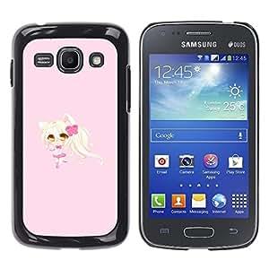 TopCaseStore / la caja del caucho duro de la cubierta de protección de la piel - Blonde Anume Character Cat Ears Girl - Samsung Galaxy Ace 3 GT-S7270 GT-S7275 GT-S7272