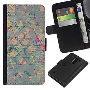 Arte Abstracto Triángulo Formas- la tarjeta de Crédito Slots PU Funda de cuero Monedero caso cubierta de piel Para LG G3