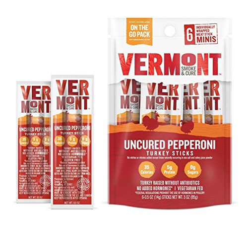 Vermont Smoke & Cure Mini Meat Stick Go Pack, Turkey, Antibiotic Free, Gluten Free, Uncured Pepperoni, .5oz Stick, 6 Count