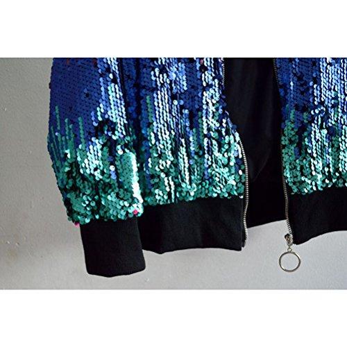 Color Women's Zipper Baseball Jacket Ladies Disfraces Sequined Change de moda Zhhlaixing Red lentejuelas de Gradient Fashion Outerwear UfBHgz