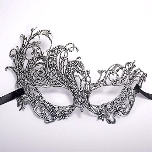 Halloween Mask,By Vibola Masquerade Lace Mask Catwoman Halloween Cutout Prom Party Mask Accessories (Silver-J) -