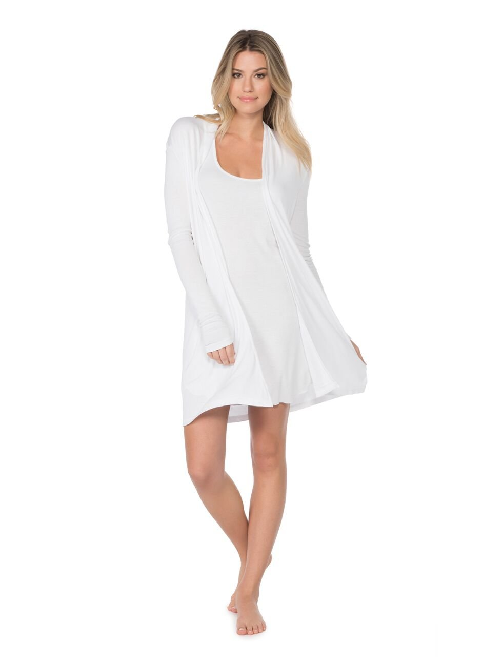 BAREFOOT DREAMS LUXE RIBBED JERSEY LONG CARDI (LARGE, WHITE)