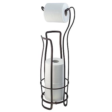InterDesign Axis Free Standing Toilet Paper Holder U2013 Extra Toilet Roll  Storage For Bathroom, Bronze