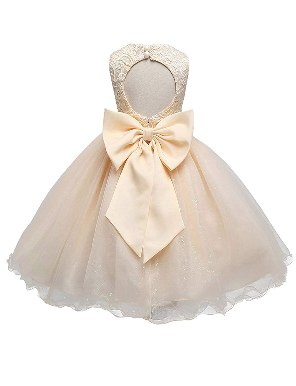 d5faa1f202e31 21KIDS Baby Girls Tulle Lace Flower Bridesmaid Gown Backless Dress with Bow  for Party Wedding