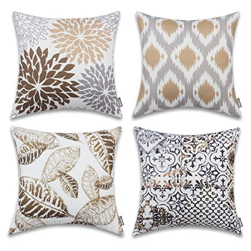 ONWAY Coffee Color Decorative Sofa Throw Pillow Covers 18x18 100% Polyester Leaf Floral Outdoor Decor for Couch, Set of 4 (Set Sofa Floral)