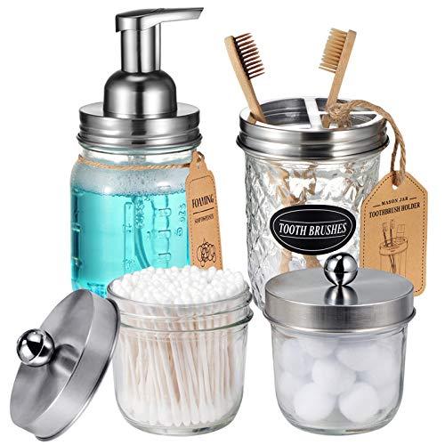 Mason Jar Bathroom Accessories Set(4 Pack) – Foaming Soap Dispenser&Qtip Holder Set&Toothbrush Holder-Rustic Farmhouse…