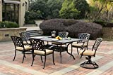 Darlee 201630-7PC-30RE Cast Aluminum 7 Piece Rectangle Dining Set & Seat Cushions, 42″ by 72″, Antique Bronze