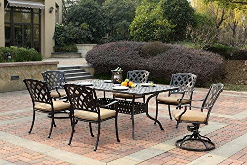 "Darlee 201630-7PC-30RE Cast Aluminum 7 Piece Rectangle Dining Set & Seat Cushions, 42"" by 72"", Antique Bronze"
