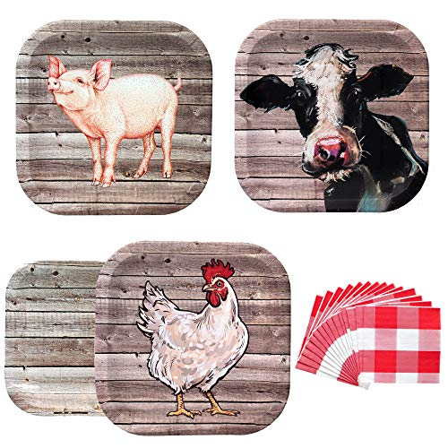 Havercamp Farm Table Party Bundle | Dinner & Dessert Plates, Luncheon Napkins | Great for Rustic Farm Themed Events, Babecue Parties, and Cookouts -