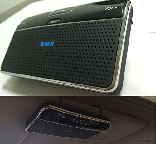 Key Speakerphone - BMR Bluetooth 4.0 Visor Handsfree Two-Speaker Speakerphone Car kit for iPhone, Samsung, HTC and all other Cellphones - 2 speakers with even better sound quality + added MUTE function key