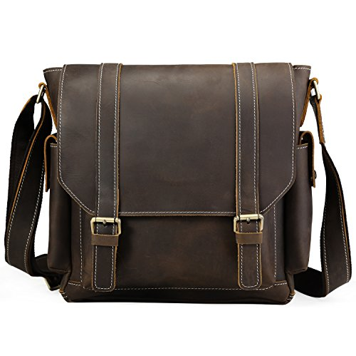 Iswee Leather Crossbody Shoulder Bag Small Messenger Satchel Bag Work Business Travel Bag for Men (Dark Brown) by Iswee