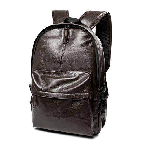 KOROWA Mochila de cuero para hombre PU Backpack marrón