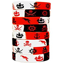 Pirate Party Favors - 8 Pack Caribbean Pirates Silicone Wristbands - Pirate Party Supplies - 8 Pack Pirate Silicone Bracelets - Great for Pirate Themed Parties! (Striped 8-Pack)