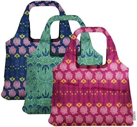 ChicoBag Vita Art Deco Collection Reusable Compact Shopping Tote, Set of 3 Colors