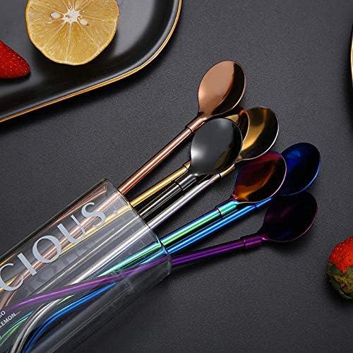 QINGYU Edelstahl-Kaffeestrohlöffel, schönes 7er-Set Regenbogenfarbener Kaffeelöffel Langgriff-Rührlöffel für Eiscreme-Cocktail-Rührlöffel-lila