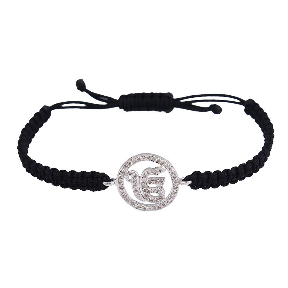Sikh Ik Onkar 925 Silver Bracelet Studded 0.38 carat Diamonds on adjustable nylon thread