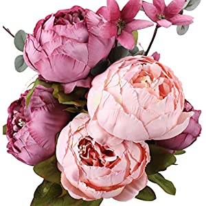 Duovlo Fake Flowers Vintage Artificial Peony Silk Flowers Wedding Home Decoration,Pack of 1 (New Sweetened Bean) 16