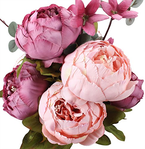 Duovlo Fake Flowers Vintage Artificial Peony Silk Flowers Wedding Home Decoration,Pack of 1 (New Sweetened Bean) ()
