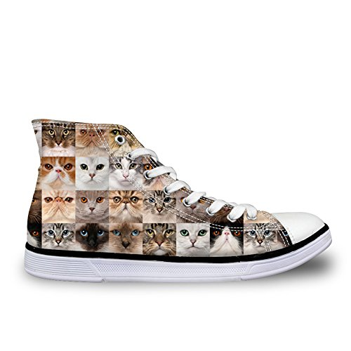 Print Animals Casual Top IDEA Cute Animals High Sneakers Canvas Shoes HUGS 1 Womens 6wBHqXnwWa