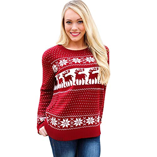 Vest Performance Sweater V-neck (Simayixx Sweatshirts for Women Women Reindeer Ugly Christmas Sweater Xmas Snowflakes Pullover Jumper Tops(S-2XL))