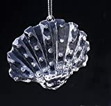 "2"" Icy Crystal Iridescent Glittered Seashell Christmas Ornament"