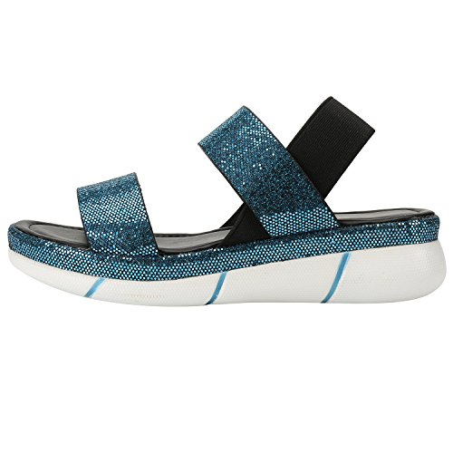 Sandals Elastic Womens Leroy Sequins Alexis Alexis Leroy Blue Slingback Platform qF78nP