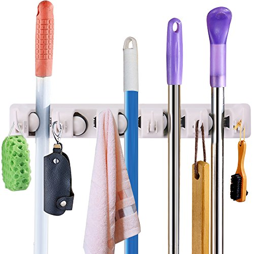 THETIS Homes Mop and Broom Holder, 5 Position with 6 Hooks,17 inch,ABS Spring Ballby ABS