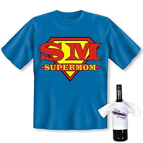 T-Shirt - SM Supermom - Eine echte Superheldin - lustiges Sprüche Shirt für Mütter mit Humor - Geschenk Set zum Muttertag