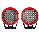Northpole Light [2 Pack] 9 inch 185W CREE Round Front Bumper LED Light Bar Roof Driving Headlights LED Driving Fog Lights Work Lights Off Road Spot lights for Truck, Car, ATV, SUV, Jeep (Red)