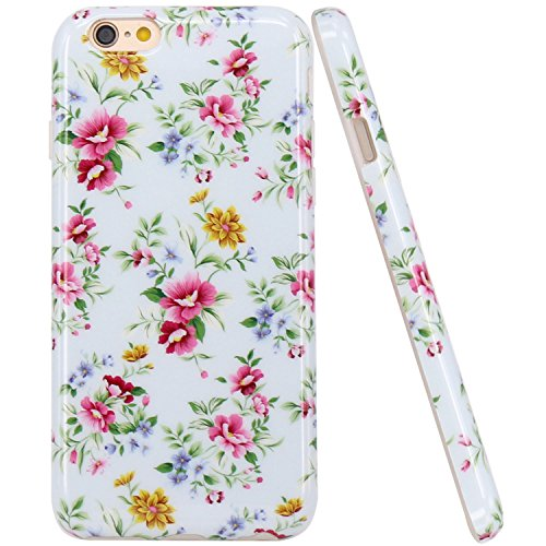iPhone 6 Hülle, LOVONKI Rosa Blau Blume Serie Flexible TPU Silikon Schutz Handy Hülle Handytasche HandyHülle Etui Schale Case Cover Tasche Schutzhülle für iPhone 6 6S