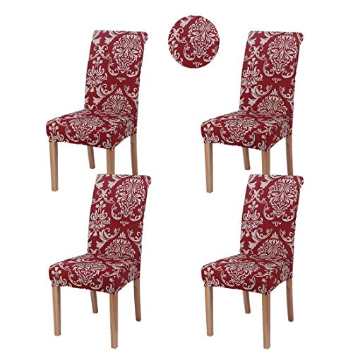 Stretch Dining Room Chair Slipcovers Spandex Fabric Removable Washable Chair Protector Cover for Dining Room, Hotel, Ceremony, Wedding, Party (Dd Red, 4 Per Set)