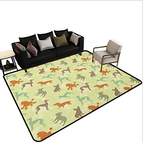 Greyhound Silhouette - Restaurant mat Carpet Dog Lover,French Bulldog Greyhound Poodle Terrier Silhouette Pure Breed Animals Canine Type, Multicolor