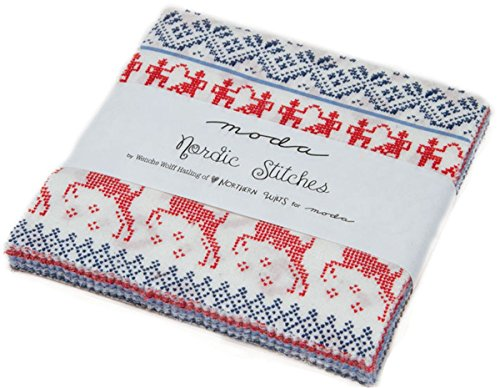 Nordic Stitches Charm Pack By Wenche Wolff Hatling; 42-5'' Precut Fabric Quilt Squares by MODA