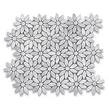 Carrara White Italian Carrera Marble Daisy Flower Pattern Mosaic Tile Honed