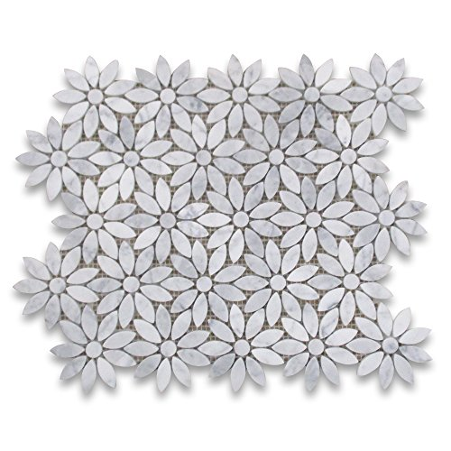Carrara White Italian Carrera Marble Daisy Flower Pattern Mosaic Tile Honed Marble Tile Sheet