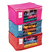Kuber Industries 3 Pieces Quilted Polka Dots Cotton Saree Cover Set
