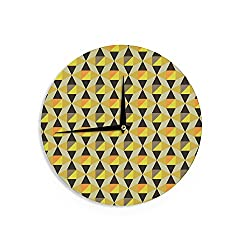 KESS InHouse Louise Machado Onyx Yellow Black Wall Clock, 12