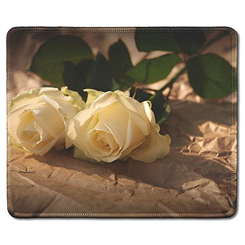 Custom Printed Mouse Pad (dealzEpic - Art Mousepad - Natural Rubber Mouse Pad Printed with Vintage Style Romantic Roses - Stitched Edges - 9.5x7.9 inches)